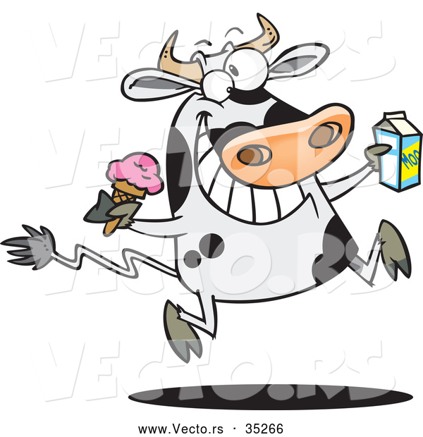 Vector of a Happy Cartoon Dairy Cow Running and Jumping with Ice Cream and a Carton of Milk
