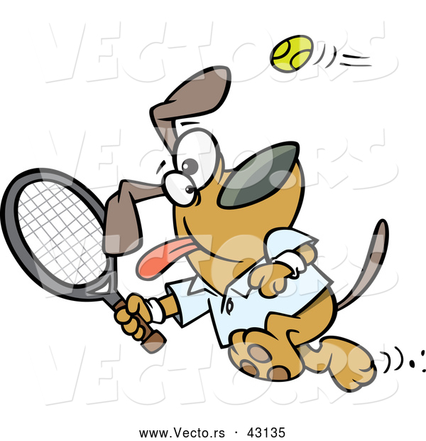 Vector of a Happy Cartoon Dog Swinging a Tennis Racket at the Ball