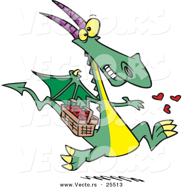 Vector of a Happy Cartoon Dragon Spreading Love Hearts from a Basket While Running