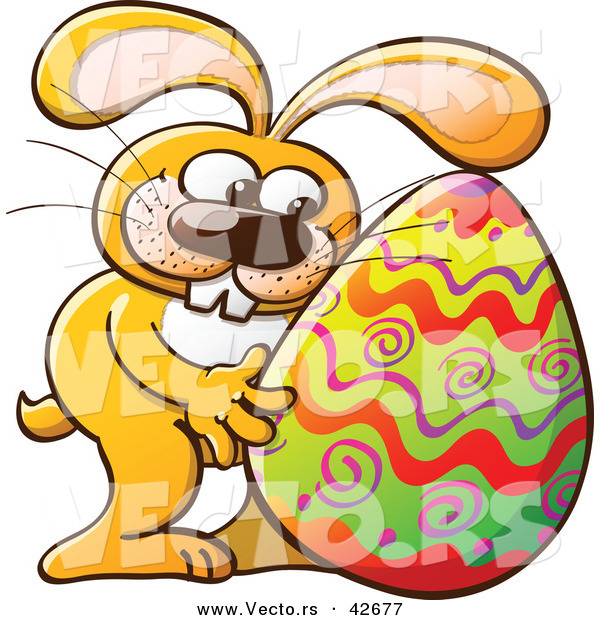 Vector of a Happy Cartoon Easter Bunny Hugging a Painted Egg