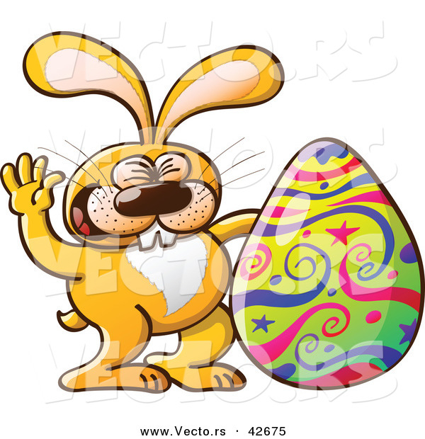 Vector of a Happy Cartoon Easter Bunny Waving Hello Beside a Painted Egg
