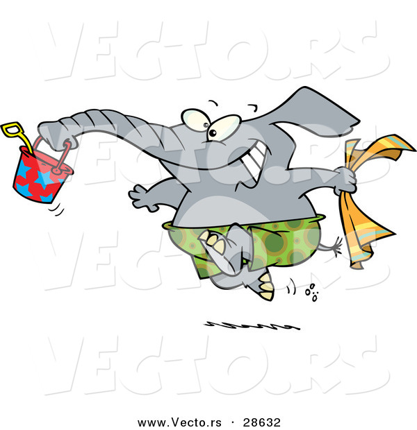 Vector of a Happy Cartoon Elephant Running to the Beach with a Bucket and Towel