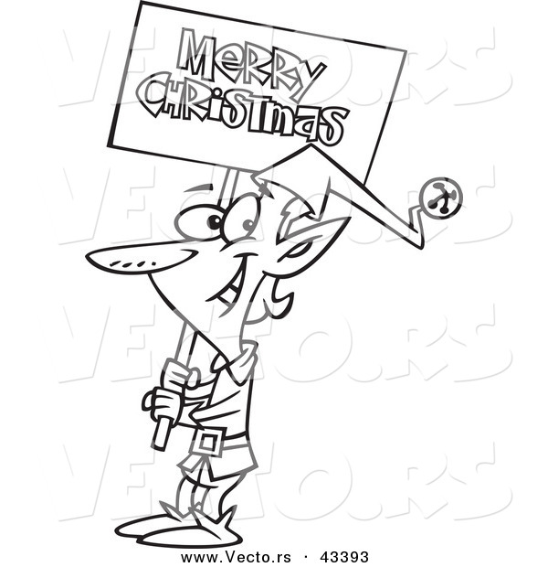 Vector of a Happy Cartoon Elf Carrying a Merry Christmas Sign - Coloring Page Outline