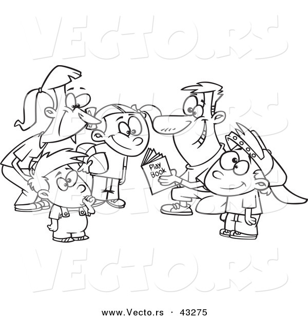 Vector of a Happy Cartoon Family Huddling Together While Going over a Football Play Book - Coloring Page Outline