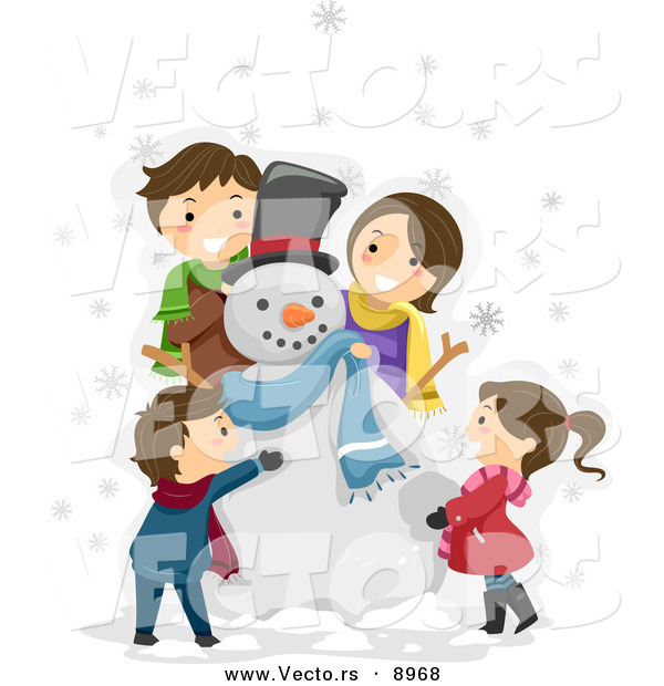 Vector of a Happy Cartoon Family Making a Snowman Together
