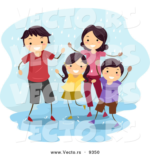 Vector of a Happy Cartoon Family Playing in a Water Puddle While It Is Raining