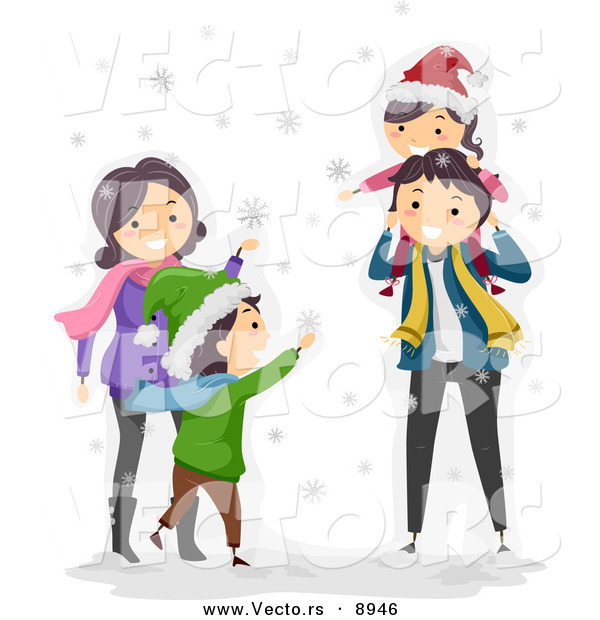 Vector of a Happy Cartoon Family Playing in the Winter Snow