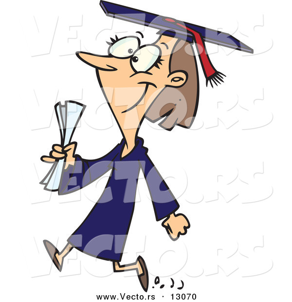 Vector of a Happy Cartoon Female College Graduate Walking