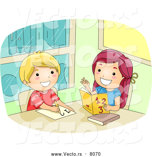 Vector of a Happy Cartoon Girl Helping a Boy with Math