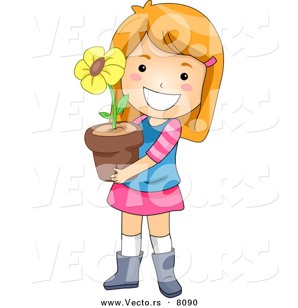 Vector of a Happy Cartoon Girl Holding a Potted Yellow Flower