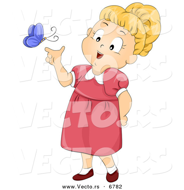 Vector of a Happy Cartoon Girl Letting Purple Butterfly Land on Her Finger