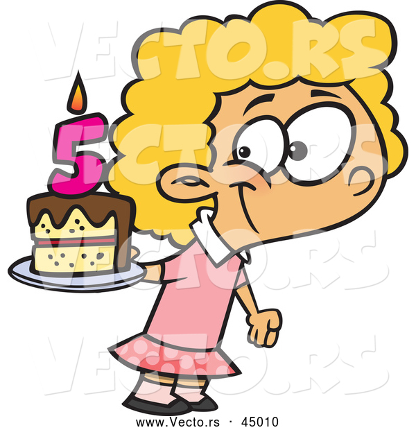 Vector of a Happy Cartoon Girl Posing with Her Fifth Birthday Cake