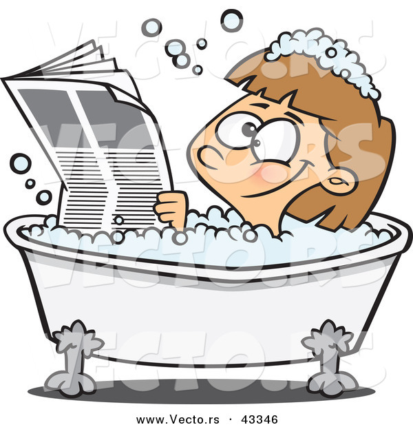 Vector of a Happy Cartoon Girl Reading the Newspaper While Soaking in a Hot Bubbly Bath Tub
