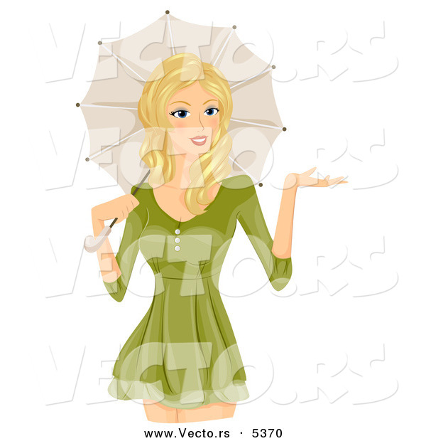 Vector of a Happy Cartoon Girl Standing with a Parasol over Her Shoulder