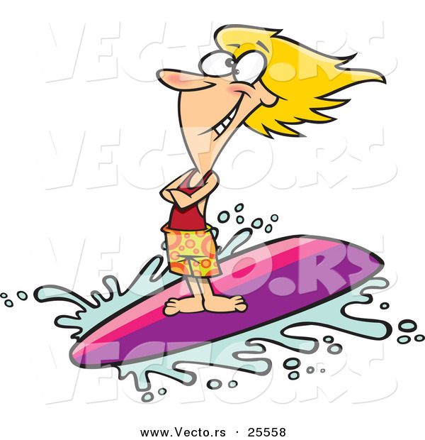 Vector of a Happy Cartoon Girl Surfing Wave on Surfboard