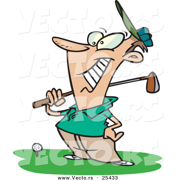 Vector of a Happy Cartoon Golfer Standing Beside a Golf Ball on a Tee While Holding a Club