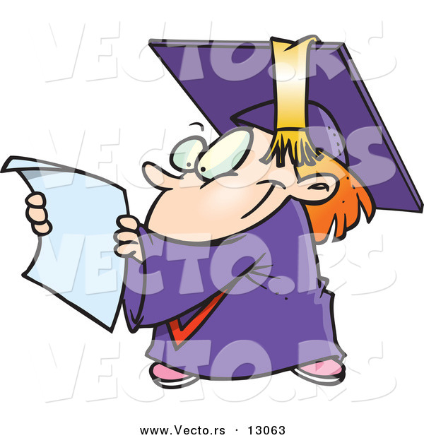 Vector of a Happy Cartoon Graduate Kid Reading His Certificate