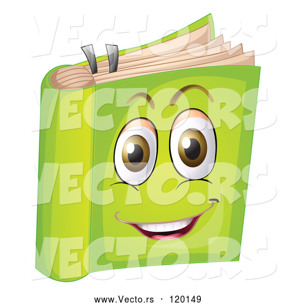 Vector of a Happy Cartoon Green Book Mascot