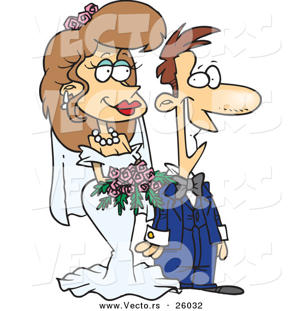 Vector of a Happy Cartoon Groom Standing Beside His Bride During a Wedding