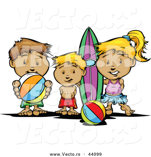 Vector of a Happy Cartoon Kids Brothers and Sister at the Beach with Surfboard and Ball