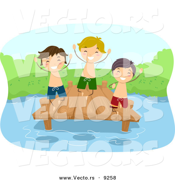 Vector of a Happy Cartoon Kids Playing on a Lake Dock