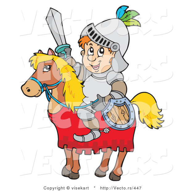 : Vector of a Happy Cartoon Knight Sitting on a Horse While Holding Shield and Sword