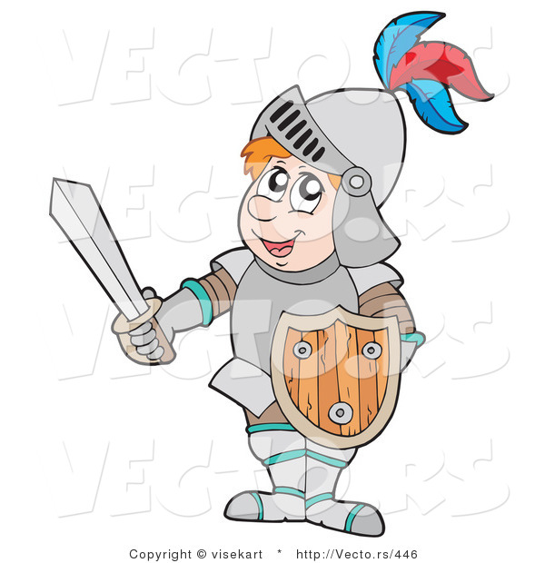 : Vector of a Happy Cartoon Knight with Shield and Sword