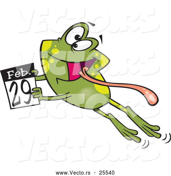 Vector of a Happy Cartoon Leap Day Frog Leaping with a February 29th Calendar Page - National Leap Day