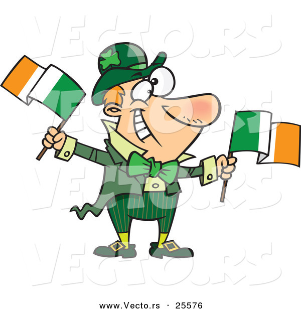 Vector of a Happy Cartoon Leprechaun Man Waving Two Irish Flags