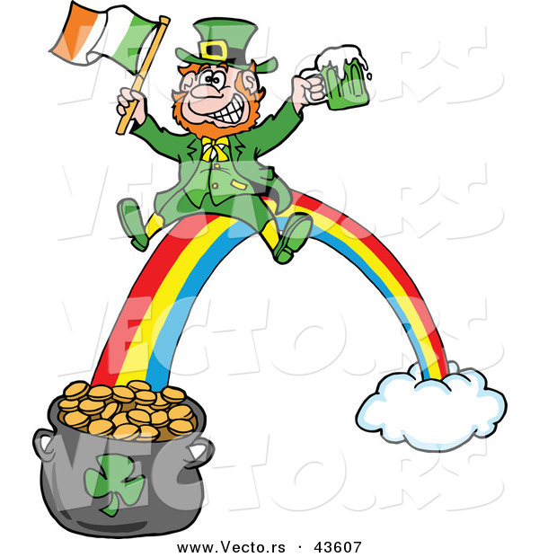 Vector of a Happy Cartoon Leprechaun Riding a Rainbow down to a Lucky Pot of Gold with a Beer and Irish Flag
