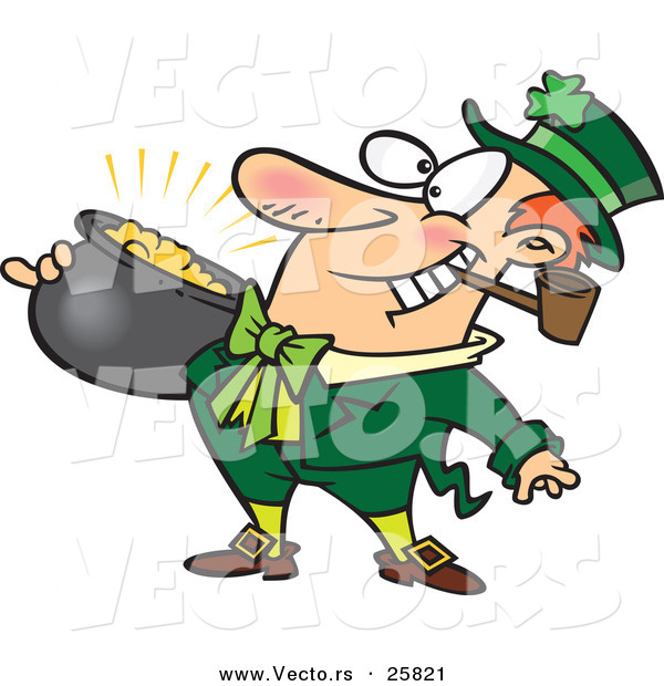 Vector of a Happy Cartoon Leprechaun Smoking a Pipe While Carrying Pot Full of Gold