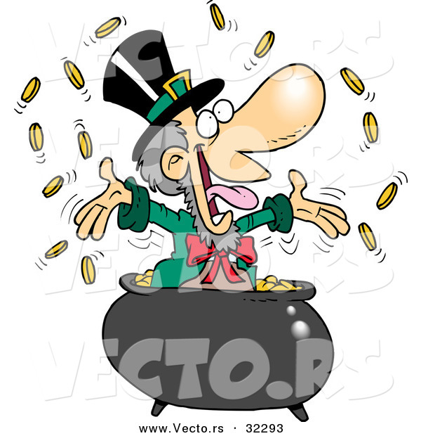 Vector of a Happy Cartoon Leprechaun Tossing Coins into the Air from His Pot of Gold