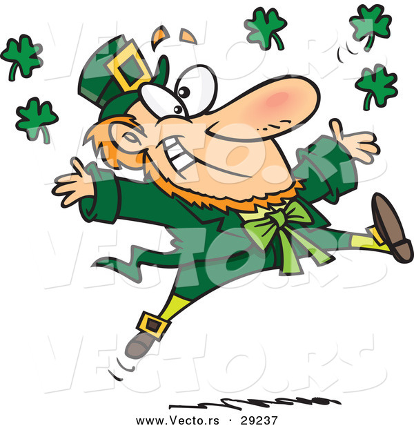 Vector of a Happy Cartoon Leprechaun Tossing Lucky Clovers Everywhere While Jumping for Joy