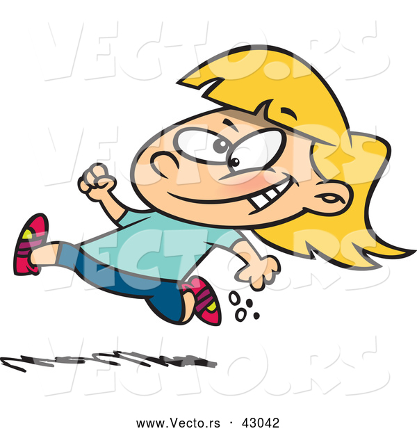 Vector of a Happy Cartoon Little Girl Running Fast
