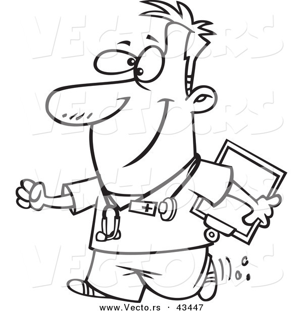 Vector of a Happy Cartoon Male Nurse Carrying a Clipboard - Coloring Page Outline