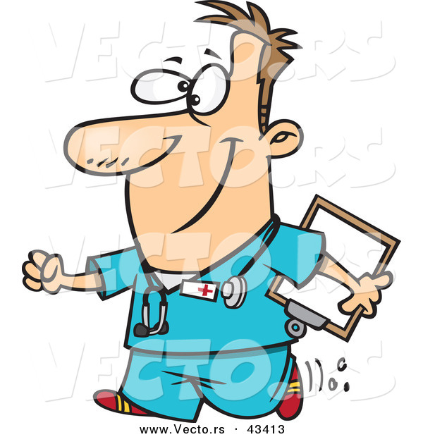 Vector of a Happy Cartoon Male Nurse Walking with a Clipboard and a Smile