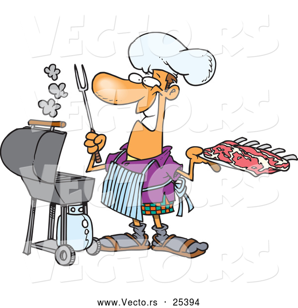 Vector of a Happy Cartoon Man Cooking Barbeque Ribs with an Outdoor Propane Grill