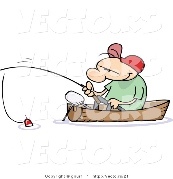 Vector of a Happy Cartoon Man Fishing in a Small Wood Boat