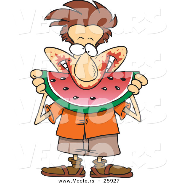 Vector of a Happy Cartoon Man Pigging out on Watermelon