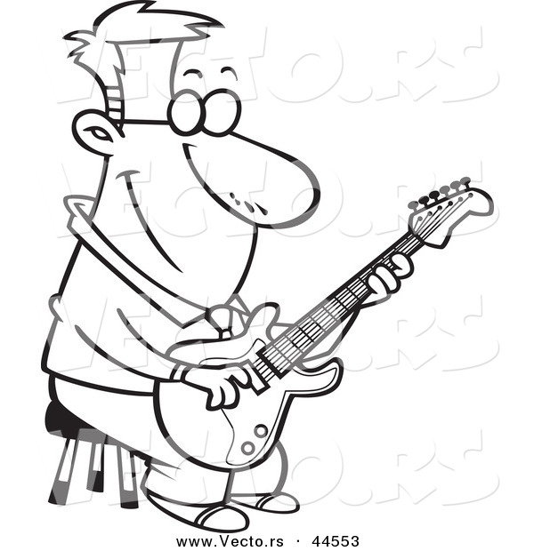 man playing with guitar Colouring Pages