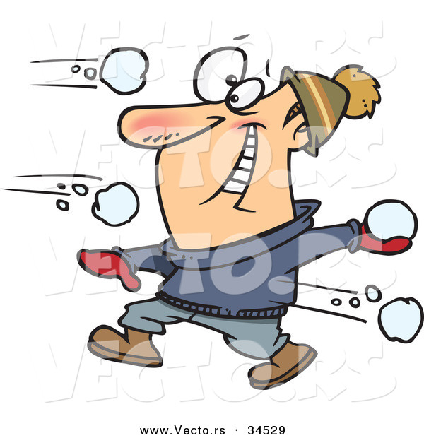 Vector of a Happy Cartoon Man Snowball Fighting