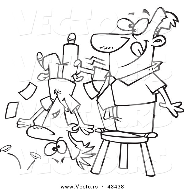 Vector of a Happy Cartoon Man Standing on a Stool and Shaking Money from a Guys Pockets - Coloring Page Outline