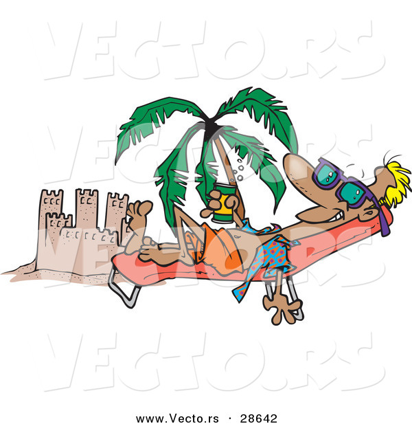 Vector of a Happy Cartoon Man Tanning Beside a Beach Sand Castle with Palm Tree