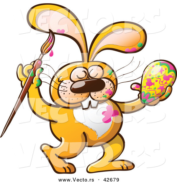 Vector of a Happy Cartoon Orange Bunny Rabbit Painting an Easter Egg