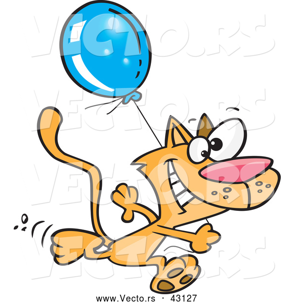 Vector of a Happy Cartoon Orange Cat Running with a Blue Balloon