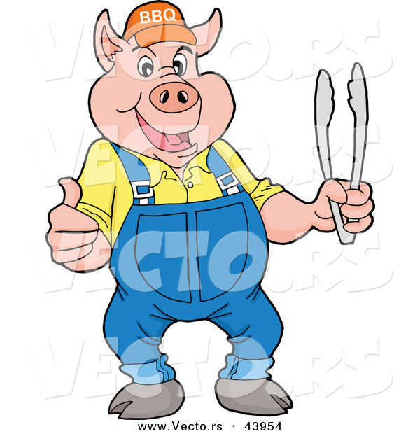 Vector of a Happy Cartoon Pig Holding BBQ Tongs While Giving a Thumb up Hand Gesture