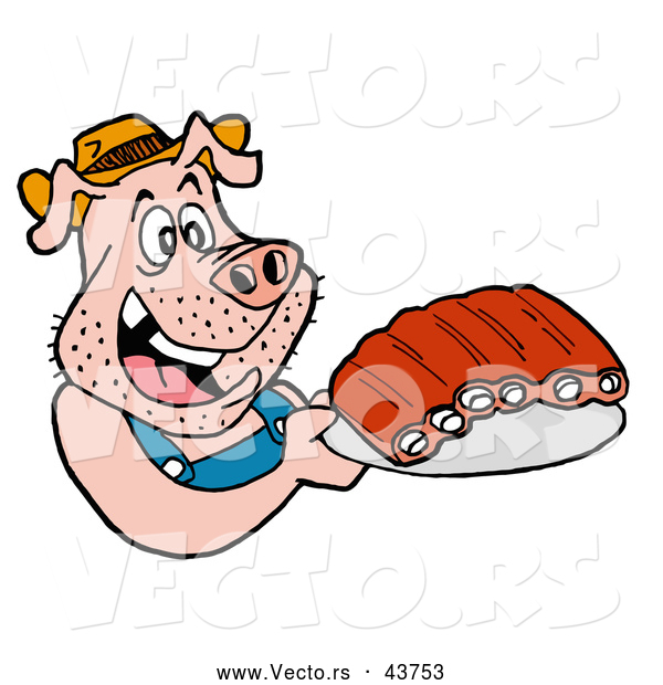 Vector of a Happy Cartoon Pig Holding Plate of BBQ Ribs