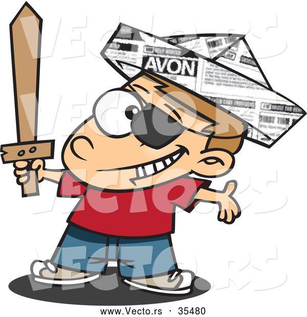 : Vector of a Happy Cartoon Pirate Boy Playing with a Newspaper Hat and Sword
