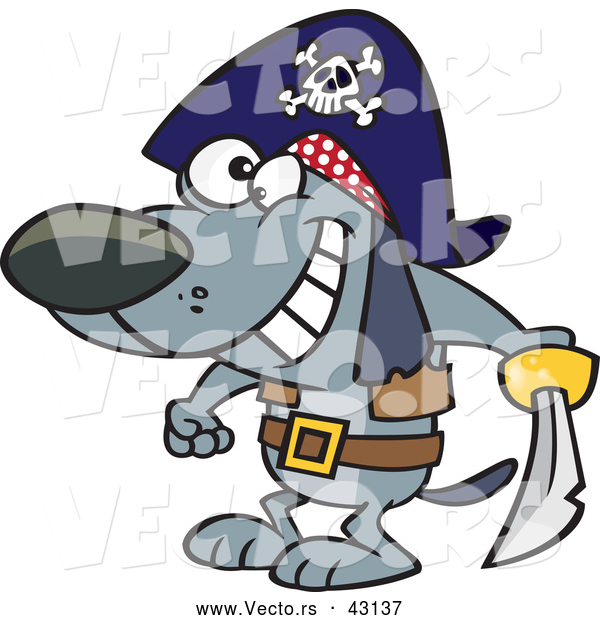 Vector of a Happy Cartoon Pirate Dog Holding a Sword