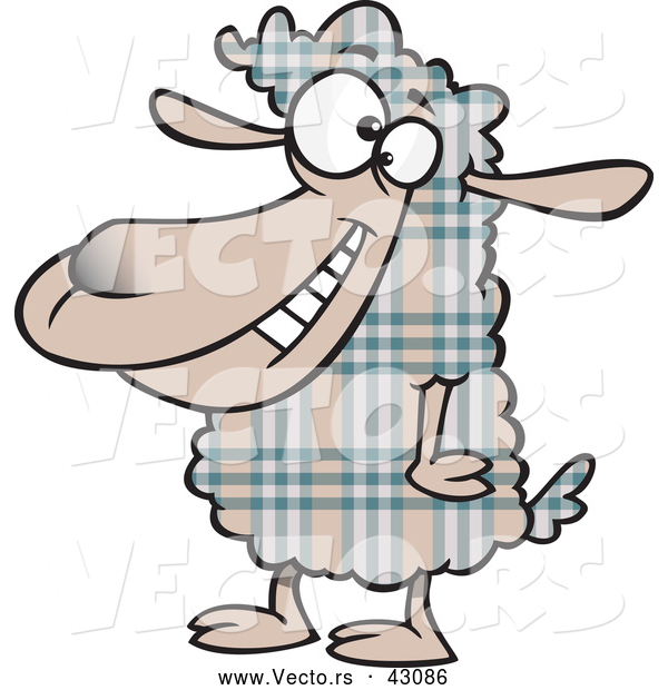 Vector of a Happy Cartoon Plaid Sheep Smiling
